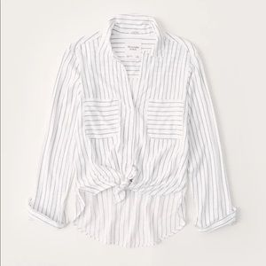 Abercrombie & Fitch Long Sleeve Tie Front Shirt XS